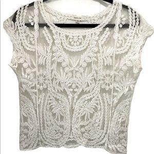 Paper Tee Sheer Lace  Short Sleeve Top Women's L